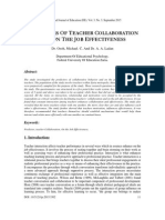 PREDICTORS OF TEACHER COLLABORATION AND ON THE JOB EFFECTIVENESS