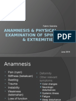 Anamnesis & Physical Examination of Spine & Extremities