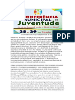 II Conferência Municipal de Juventude de Ilhéus_release