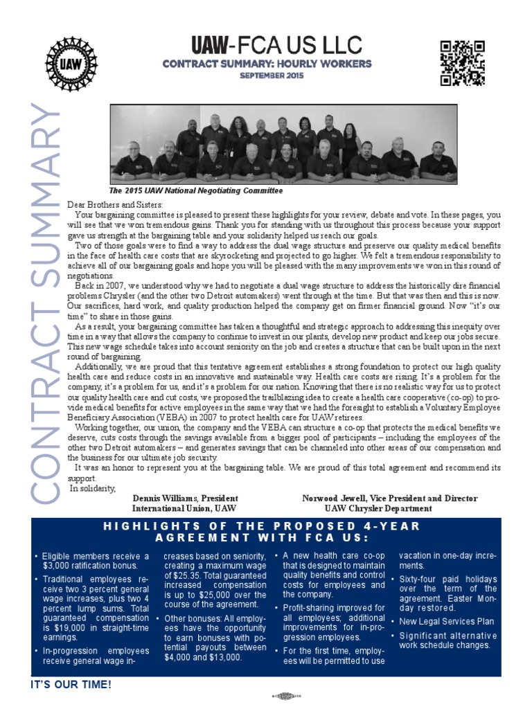 Uaw Fca Hourly Contract Summary United Automobile Workers Pension