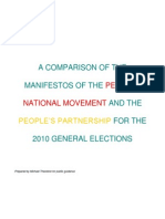 Manifesto Comparisons of PPP & PNM From 2010 Onward