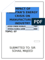 Impact of Pakistan's energy crisis on the manufacturing industry