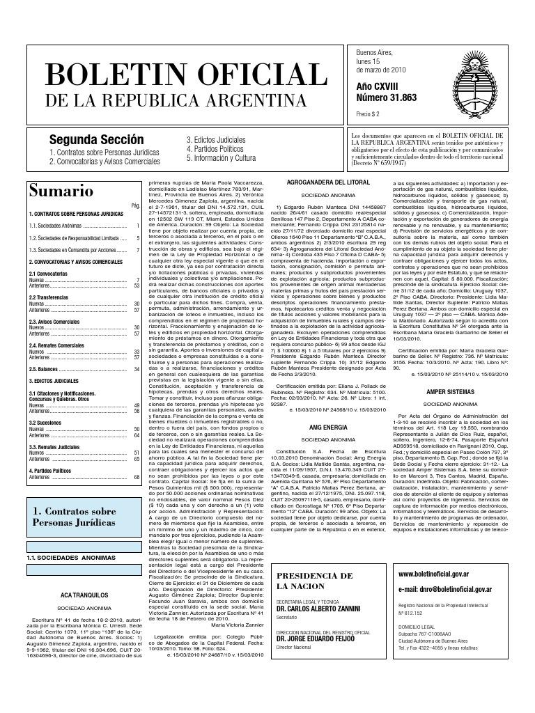 Boletin Oficial 15-03-10 - Segunda Seccion