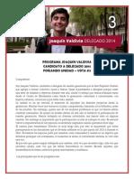 Programa Joaquín Valdivia - Candidato Delegado gen 2014 #3