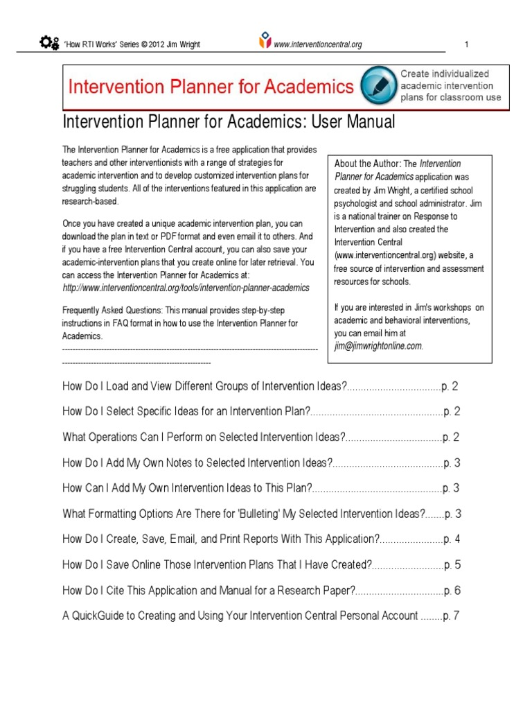 Wright 2012 Intervention Planner For Academics Manual Portable Document Format User Computing We find that intervention increases the probability of volatility being in higher ranges. scribd