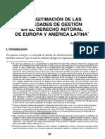 Legitimación Sociedades de Gestión Colectiva Comparación Europa y AmLat