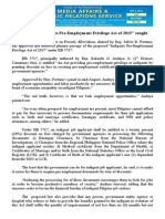 """oct08.2015Passage of """"Indigents Pre-Employment Privilege Act of 2015"""" sought"""