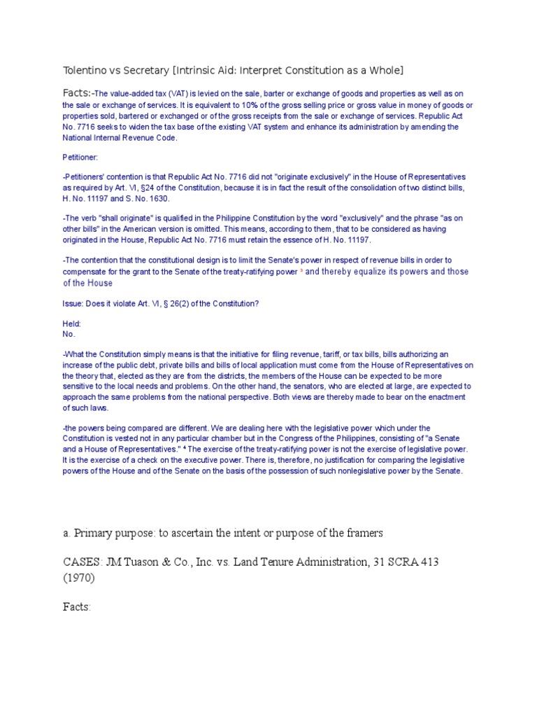 tolentino vs secretary.docx | value added tax | taxes