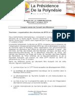 Compte Rendu Du Conseil Des Ministres - Mercredi 7 Octobre 2015