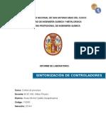 SINTONIZACIÓN DE CONTROLADORES USANDO EL CRITERIO ITAE Y Z-N