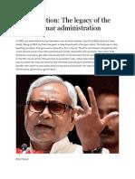 Bihar Election - The Legacy of the Nitish Kumar Administration