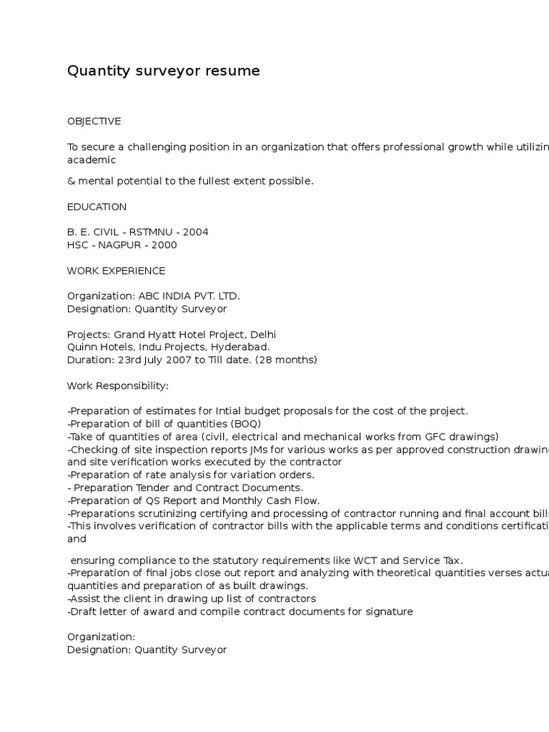 Quantity Surveyor Resumes Samples Specification Technical