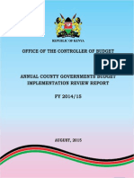 Annual County Governments Budget Implementation Review Report FY 2014-2015