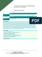 Personal Finance (Syllabus)
