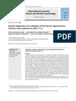 Adaptación y Validación Española de La Escala de Impulsividad de Barratt en Adolescentes Tempranos (Bis-11-A)