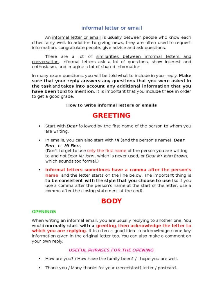 Informal Letter Or Email Question Test Assessment
