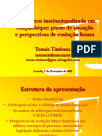 Tomás Timbane - A Arbitragem Institucionalizada Em Moçambique