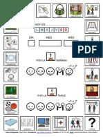 genda adaptada con pictogramas de ARASAAC sobre actividades diarias realizadas por los alumnos en el colegio.