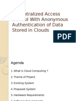 PPT-Decentralized Access Control With Anonymous Authentication of Data Stored in Clouds(1)