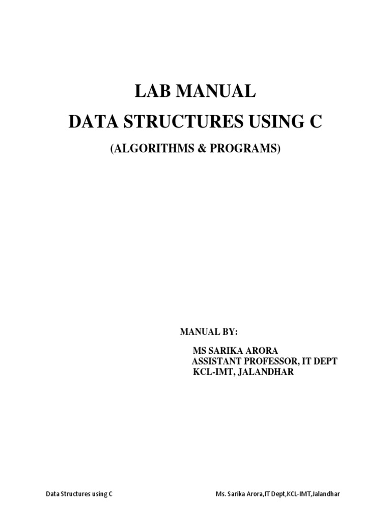 Data Structures Lab Manual | Queue (Abstract Data Type) | Algorithms And Data  Structures