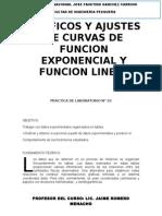 GRAFICOS Y AJUSTES DE CURVAS DE FUNCIÓN EXPONENCIAL Y FUNCIÓN LINEAL