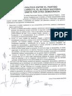 ACUERDO POLÍTICO ENTRE EL PARTIDO  DEMOCRACIA DIRECTA, EL BLOQUE NACIONAL POPULAR Y ÚNETE POR OTRA DEMOCRACIA