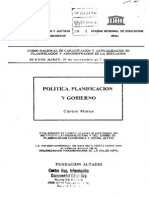 Politica, Planificacion y Gobierno. (Carlos Matus)