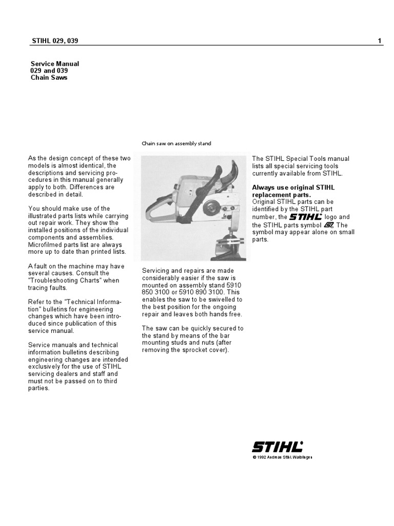 Stihl Chain Saw Service Manual Models 029 And 039 Ignition