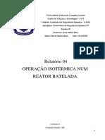 Relatório 04 - Operação Isotérmica Num Reator Batelada