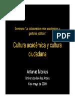 Mockus Antanas Culturaacademica y Cultura Ciudadana