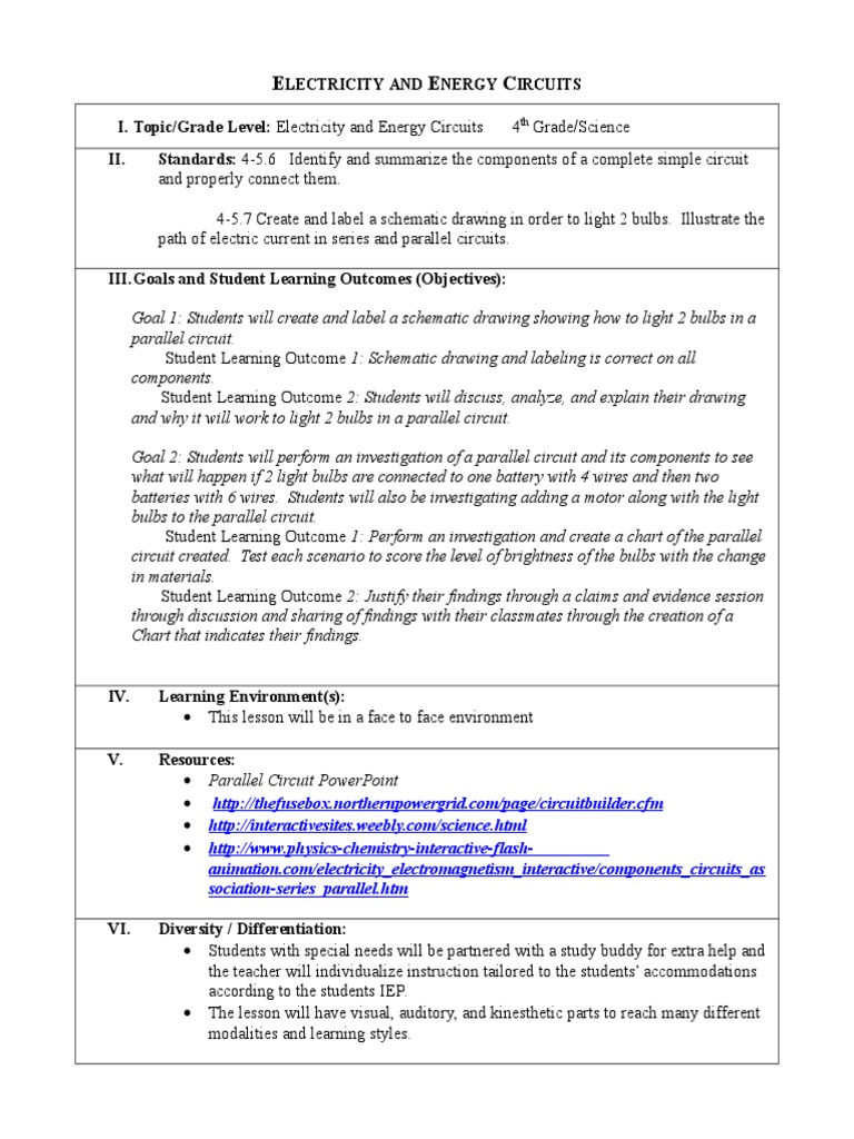 Educ630 Lesson Plan 4 Electricity And Energy Circuits Ayer Shanna Learning Electrical Series Parallel Teaching