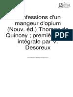 Thomas de Quincey Mangeur d'Opium