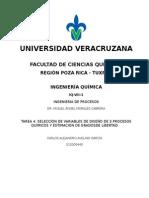 SELECCIÓN DE VARIABLES DE DISEÑO DE 3 PROCESOS QUÍMICOS Y ESTIMACIÓN DE GRADOS DE LIBERTAD