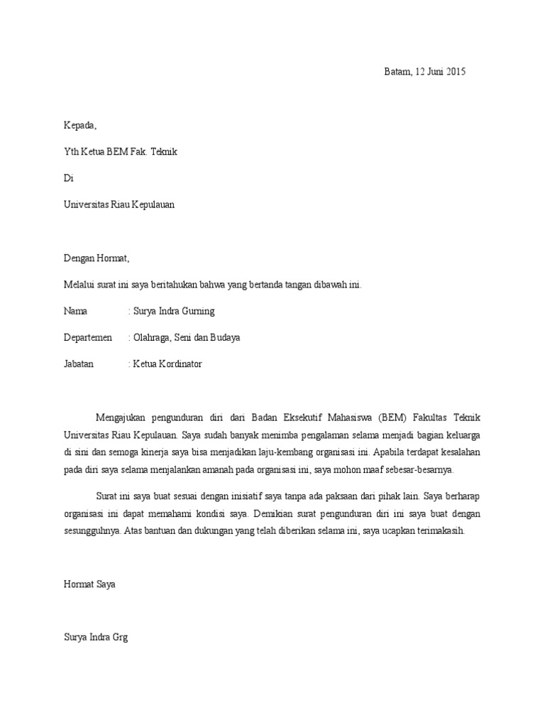 Surat Pengunduran Diri Organisasi Just4udakar Com