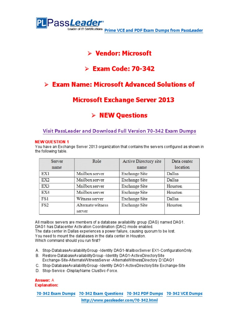 New 70 342 Exam Dumps With Pdf And Vce Download Microsoft Exchange
