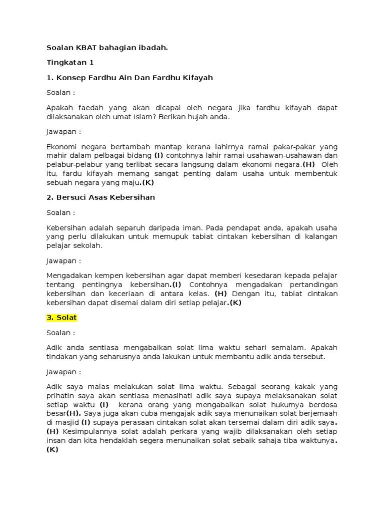 Contoh Soalan Kbat Pendidikan Islam Pt3 Muharram G