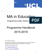 MA Education Programme Handbook - UCL IoE 2015-16