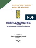 Determinantes de la Localización de la Inversion Extranjera Directa en El Peru