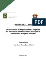 Estimacion de La Disponibilidad a Pagar de Los Habitantes de La Ciudad de Puno Por El Tratamiento de Aguas Servidas
