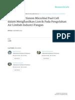 Pemanfaatan Sistem Microbial Fuel Cell dalam Menghasilkan Listrik Pada Pengolahan Air Limbah Industri Pangan