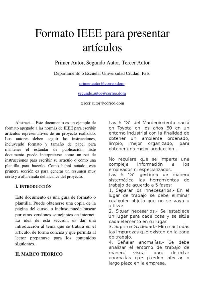 Lujoso Plantillas Ieee Adorno - Ejemplo De Colección De Plantillas ...