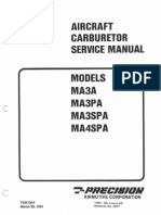MSA Aircraft Carburetor Service Manual Models MA3A MA3PA MA3SPA MA4SPA