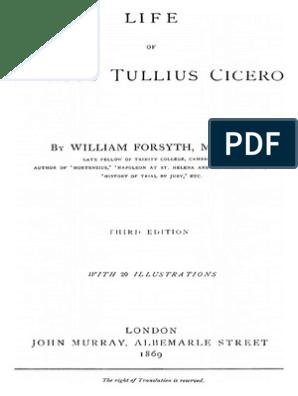 Life of Marcus Tullius Cicero - William Forsyth 1869 - Full