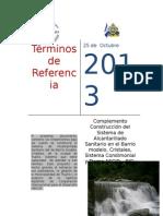 Tdr Proyecto de Alcantarillado Complemento Municipal Condimoonial y Tramo Aecid