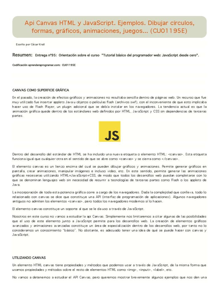 Api Canvas HTML y JavaScript. Ejemplos. Dibujar círculos, formas ...