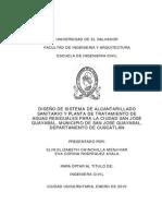 Diseño de Sistema de Alcantarillado Sanitario y Planta de Tratamiento de Aguas Residuales Para La Ciudad de San Jose Guayabal%2C Municipio de San Jose Guayabal%2C Departamento de Cuscatlán