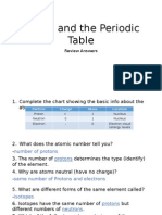atoms and the periodic table study guide answers