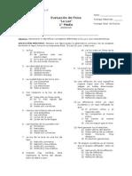 1° Medio - Evaluación de Física N°3 La Luz