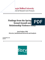 Findings From the Spring 2015 Cmu Sexual Assault and Relationship Violence Study