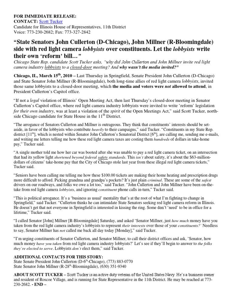 U201cState Senators John Cullerton (D Chicago), John Millner (R Bloomingdale)  Side With Red Light Camera Lobbyists Over Constituents.